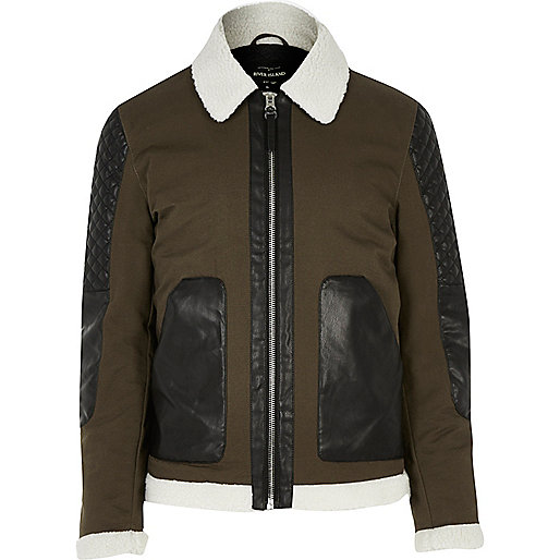 Green leather look panel jacket
