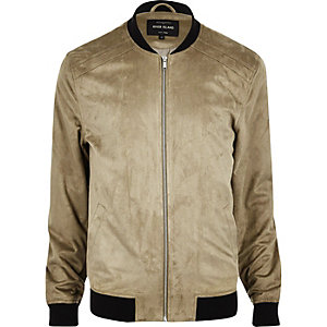 Stone lightweight faux suede bomber jacket
