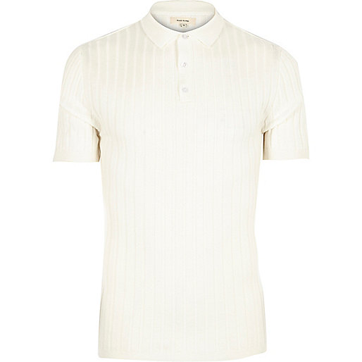 White ribbed muscle fit polo shirt