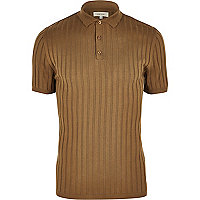 Light brown ribbed muscle fit polo shirt