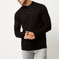 Schwarzes langärmliges Polohemd