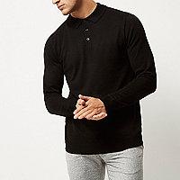 Black long sleeve polo sweater