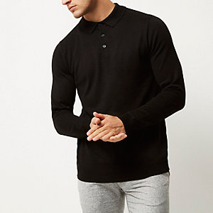 Black long sleeve polo sweater