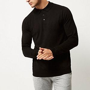 Zwarte pullover met polokraag en lange mouwen