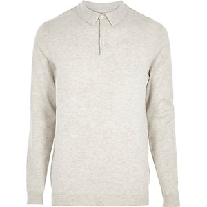 Stone long sleeve polo sweater