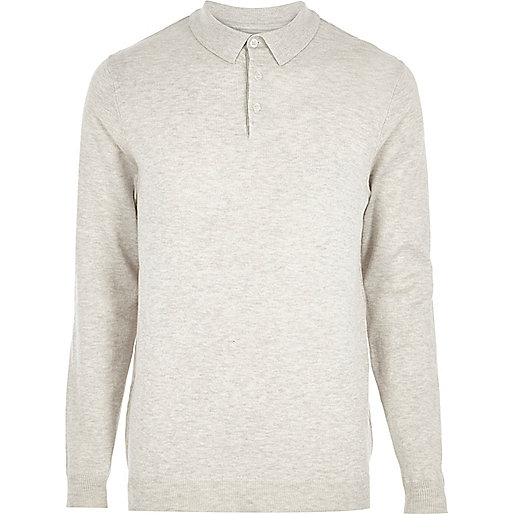 Stone long sleeve polo jumper