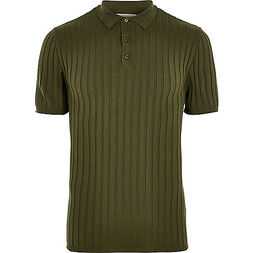 Dark green ribbed muscle fit polo t-shirt