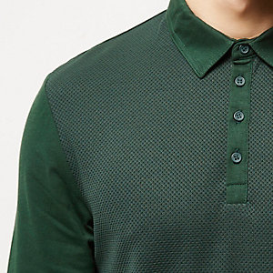 Khaki textured long sleeve polo shirt