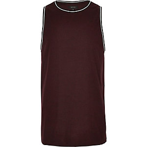 Burgundy ringer neck tank top