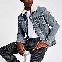 Jeansjacke mit Steinwaschung