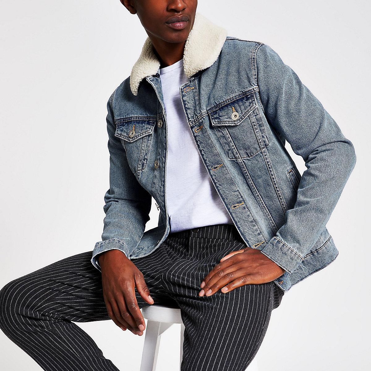 Stonewash borg collar denim jacket