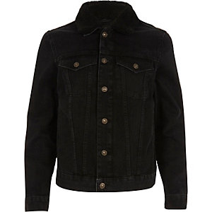 Black washed fleece collar denim jacket