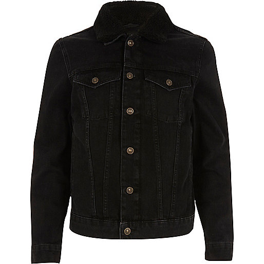 Black washed fleece collar denim jacket