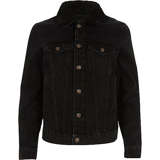 Veste en jean délavage noir avec col imitation mouton