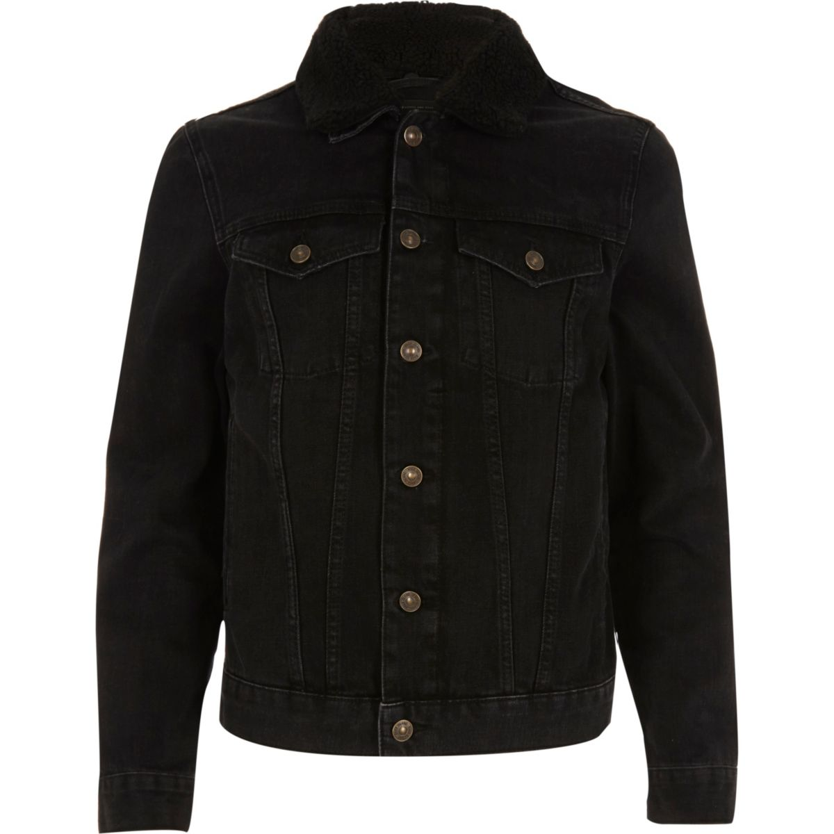 Black washed borg collar denim jacket - Coats & Jackets - Sale - men