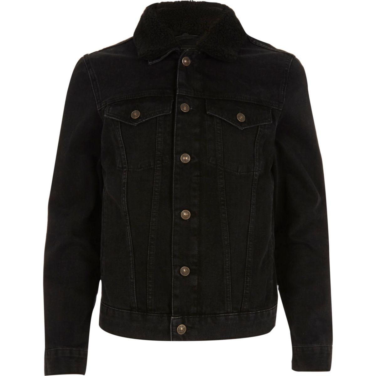 Black washed borg collar denim jacket - Coats & Jackets - Sale - men