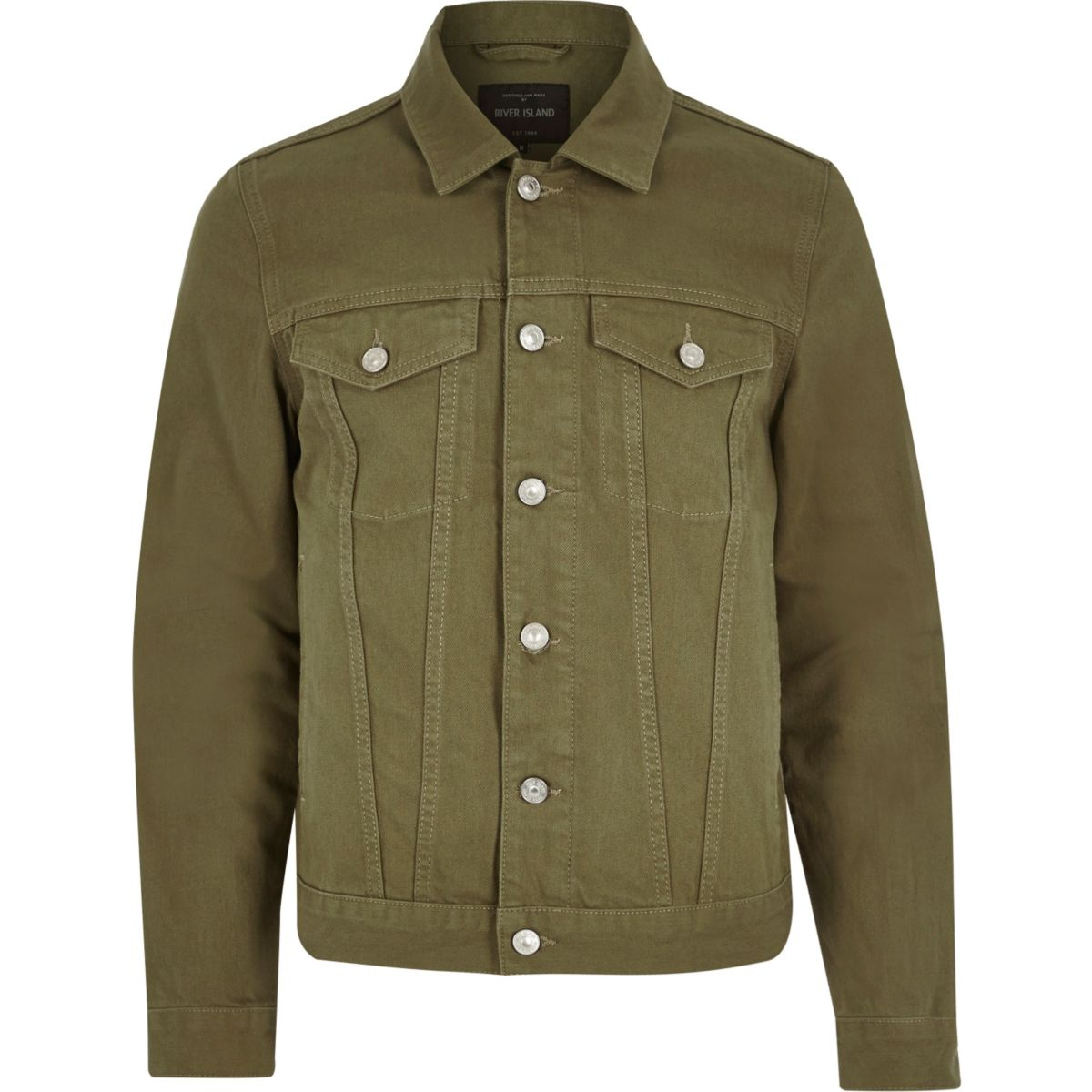 Dark green denim jacket - Coats & Jackets - Sale - men