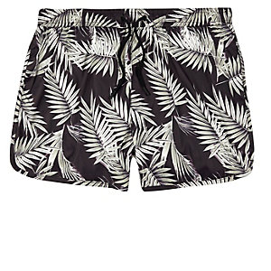 Brown palm tree print runner swim shorts