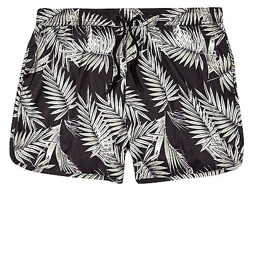 Brown palm tree print runner swim trunks