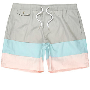 Grey ice-cream stripe swim shorts