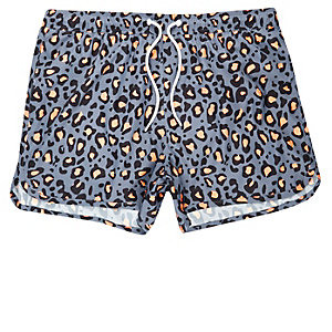 Blue animal print runner swim trunks
