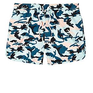Turquoise camo runner swim trunks