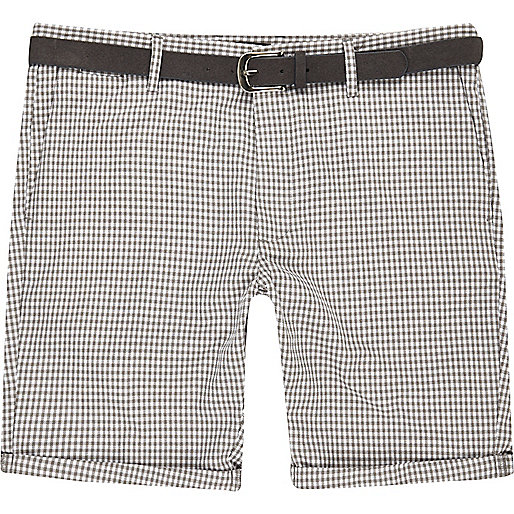Grey dogtooth belted bermuda shorts