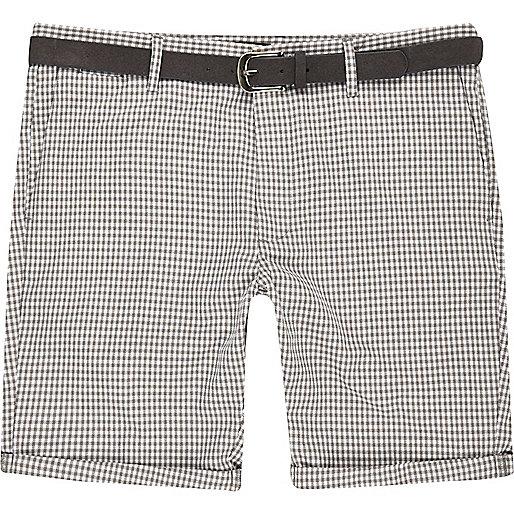 Bermuda motif pied-de-poule gris à ceinture