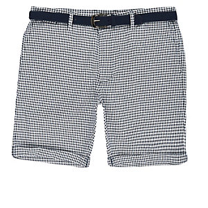 Blue dogtooth belted bermuda shorts