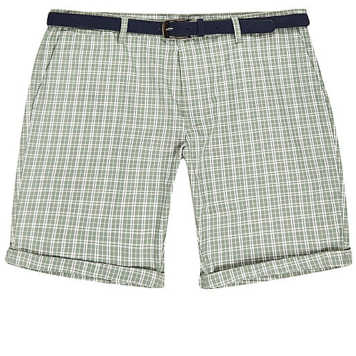 Green checked belted shorts