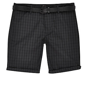 Navy checked belted bermuda shorts