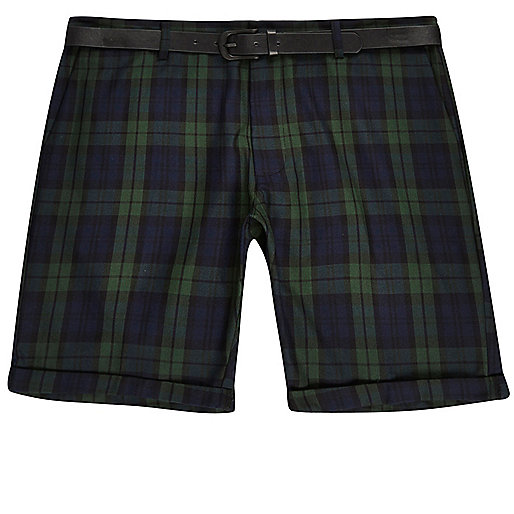 Green plaid belted shorts