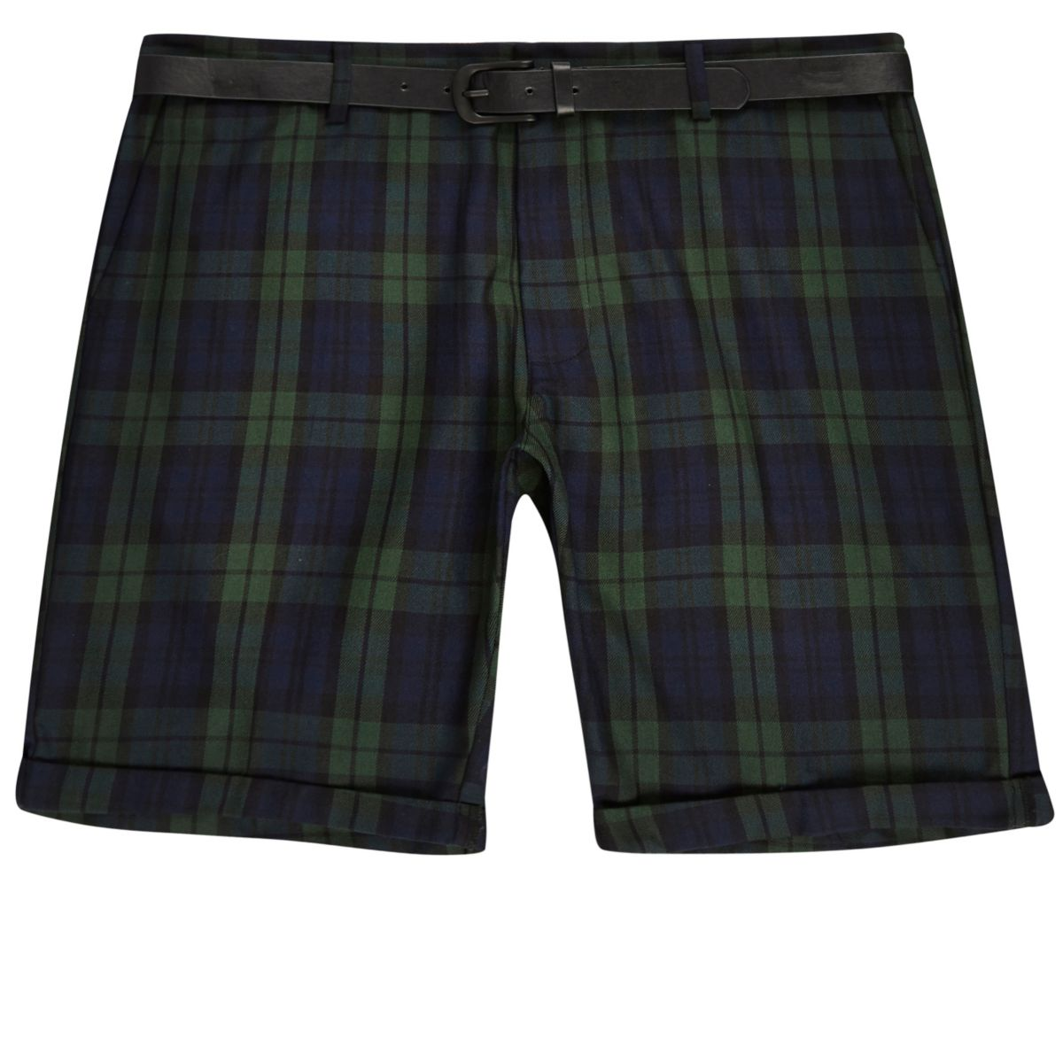 Green tartan belted shorts