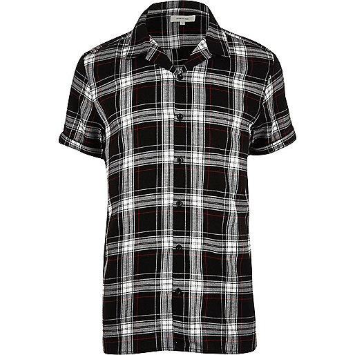 Black grunge check short sleeve shirt