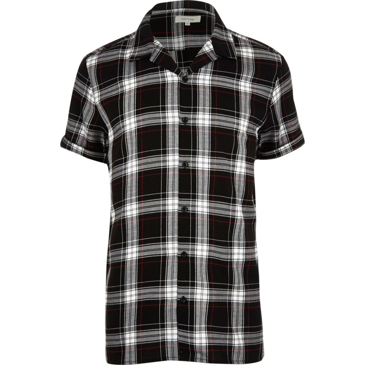 Zwart grunge geruit overhemd met korte mouwen