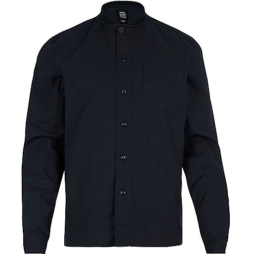 Navy YMC ribbed collar shirt