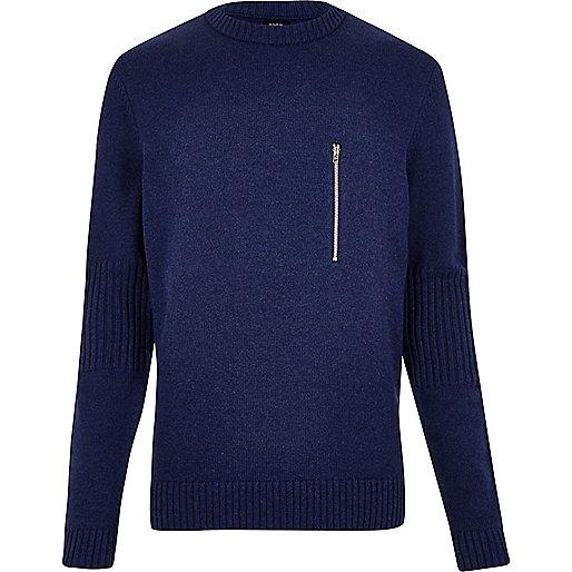 Blue YMC zip front sweater