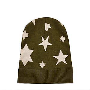 Dark green YMC knitted star beanie
