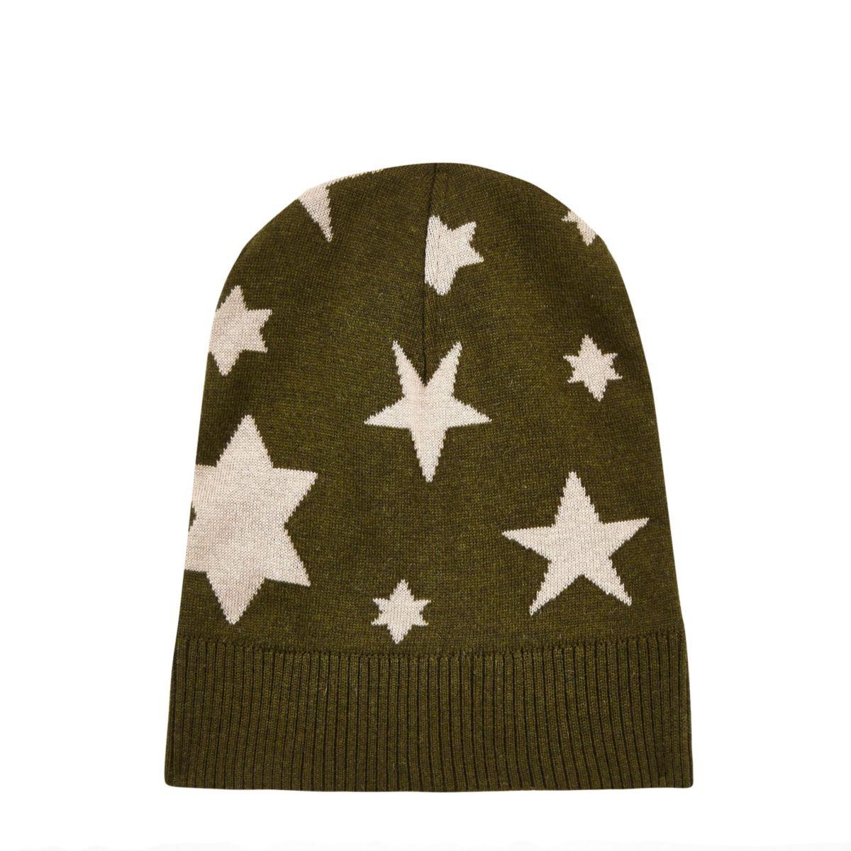 Dark green YMC knitted star beanie