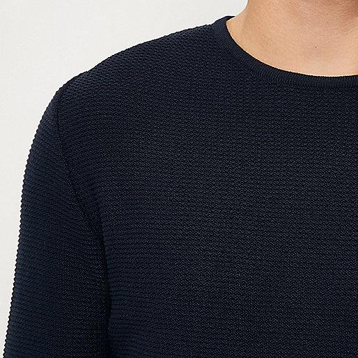 Tunique bleu marine longue texturée
