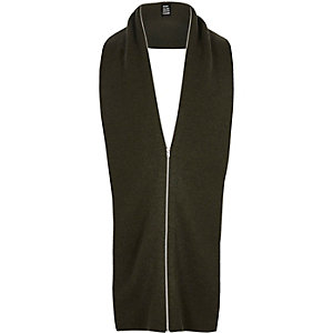 Dark green YMC zip scarf