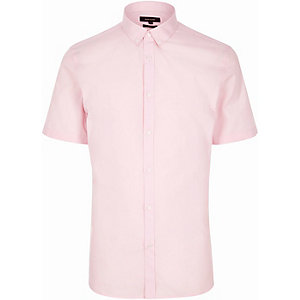 Pink slim fit short sleeve shirt