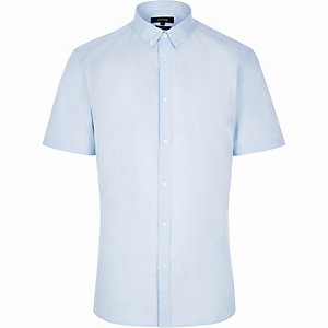 Blue slim fit short sleeve shirt