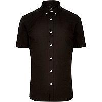Black slim fit short sleeve shirt
