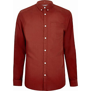 Rood casual Oxford overhemd