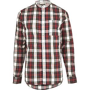 Red check grandad Oxford shirt