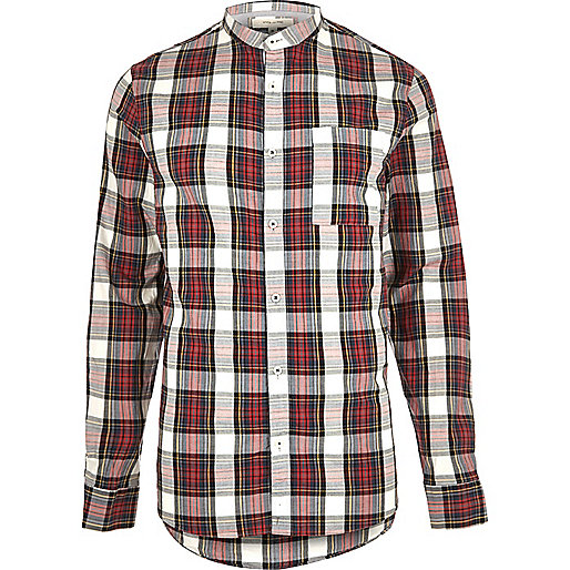 Red check grandad Oxford shirt