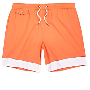 Orange stripe panel swim trunks