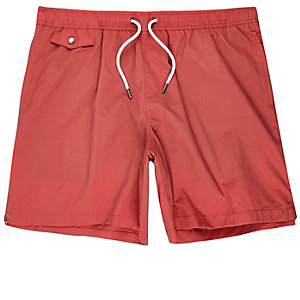 Red pocket swim trunks