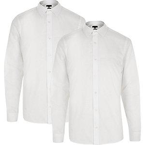 Multipack met witte slim-fit overhemden